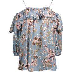 Frilly Printed Cold Shoulder Blouse Stone Blue ($27) ❤ liked on Polyvore featuring tops, blouses, open shoulder top, cut out shoulder blouse, flounce blouse, flounce tops and cut out shoulder top