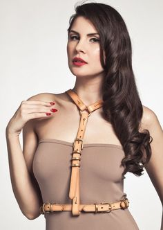 Tamzin Lillywhite Abraxas Nude Leather Harness, Fetish Fashion, Leather Accessories, Wonder Woman, Nude, Stuff To Buy, Fashion Design, Clothes, Outfits