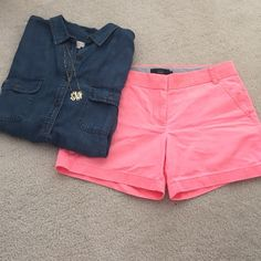 """J Crew Chino Shorts These J Crew chino shorts come in this neon flamingo color. They are such a comfortable fit and aren't too short, with a 3"""" inseam. They are gently used with no flaws. J. Crew Shorts"""