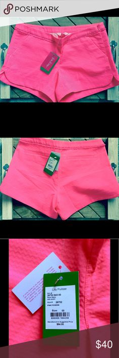 """Lilly Pulitzer """"Adie"""" pink fusion shorts Size 00 Brand new with tags attached """"pink fusion"""" (hot pink) size 00 The Adie Short is a 4 inch textured short and our newest length at Lilly. These shorts have front pockets and scalloped side seam hem details. Wear with an Anna Maria button down and gold sandals for a chic summer look. e Zip Short With Scallop Side Seam Hem, And Fringe Trim Inserted Into Waistband. 4"""" Inseam. Wave Jacquard (100% Cotton). Machine Wash Cold. Separately. Delicate…"""