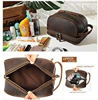 e98d6997df Tiding Leather Toiletry Bag Travel Organizer Cosmetic Bag Shaving Dopp Kit  for Men  Amazon.
