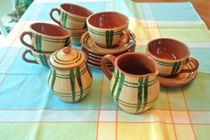 Green and Brown Plaid Pottery Cups and Saucers by RiversideMills Green And Brown, Cup And Saucer, Cups, Pottery, Plaid, Lights, Tableware, Vintage, Ceramica