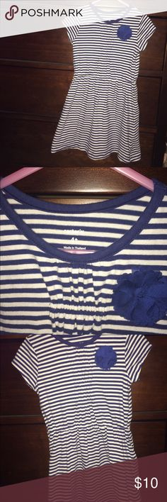 4t Carters dress. Excellent condition. Has a cute blue flower and it is a striped dress. Carter's Dresses Casual