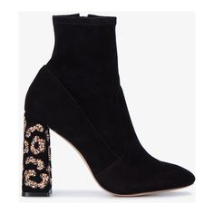 Sophia Webster Black Leopard Felicity Ankle Boots ($655) ❤ liked on Polyvore featuring shoes, boots, ankle booties, suede booties, black suede bootie, black suede boots, leopard print booties and black bootie