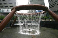 Unique water fountain located in one of Singapore's largest shopping malls, Suntec City