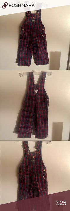Boys Toddler size 2 Plaid OshKosh Overalls Vintage Vintage OshKosh B'Gosh Toddler Boys size 2 Plaid Red/Green/Blue So cute! Great outfit for your cute toddler to wear for the holidays!🎄🍁 100% Cotton  Made in U.S.A. OshKosh B'gosh Other