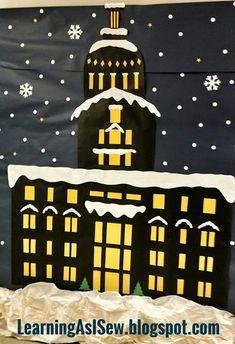Polar Express Decor - Town Hall Courthouse Christmas Bulletin Boards, Christmas Classroom Door, Office Christmas Decorations, School Decorations, Church Decorations, Polar Express Christmas Party, Ward Christmas Party, Christmas Crafts, Polar Express Theme