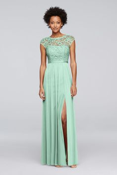 Long Bridesmaid Dress with Lace Bodice - Mint (Green), 4