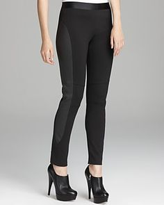 Elie Tahari Ashley Leggings with Leather Panels | Bloomingdale's