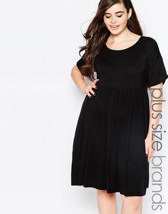 Boohoo+Plus+3/4+Sleeve+Smock+Dress