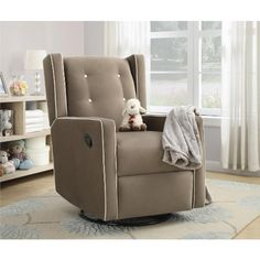 Add elegance and comfort to a gender neutral baby nursery with a Dorel Living Baby Relax Mikayla Upholstered Swivel Gliding Recliner in mocha Glider Recliner Chair, Glider And Ottoman, Baby Relax, Comfy Reading Chair, Reading Nook, Nursery Furniture, Kids Furniture, Cool Chairs, Gliders