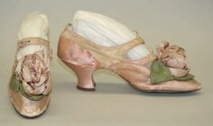 antique silk shoes with roses