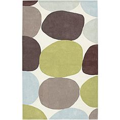 Going in another direction: rug for baby boy room?  Easy colors to find stuff to go with, and wouldn't need to repaint the green walls.  Bonus.