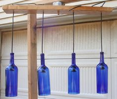 Four Bottle Blue Glass Lighting  Made To Order by ADCCreates, $90.00