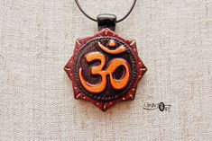 Om Necklace - Aum Buddhist Jewelry - Mantra Pendant - Hindu Necklace - Yoga Hand Carved Wooden Pendant - Spiritual Gifts - Gift for Yogi Spiritual Jewelry, Spiritual Gifts, Om Necklace, Hand Carved, Hand Painted, Mantra, Art Pieces, Spirituality, Carving