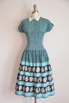 50s Blue Moon Bloom dress/ vintage 1950s floral by seaofvintage