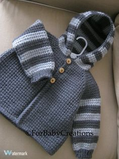 Crochet Baby Boy or Girl Sweater with Hood - Dark Grey and Light Grey - MADE TO ORDER - Tunisian Crochet - Handmade