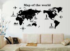 """ufengke® """"Viaggiare In Tutto Il Mondo"""" Mappa del Mondo Adesivi Murali, Camera da Letto Soggiorno Adesivi da Parete Removibili/Stickers Murali/Decorazione Murale, A"""