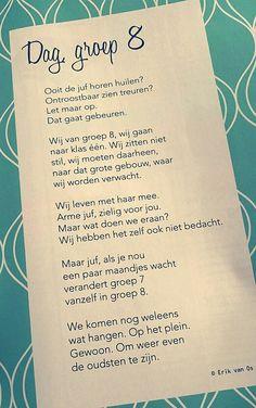 'Dag groep 8' gedicht van Erik van Os - Einde schooljaar - afscheid groep 8