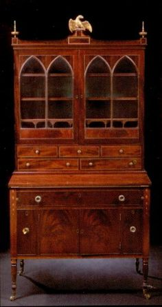 American Federal Marquetry-Inlaid and Line-Strung Mahogany Secretary-Bookcase, circa 1800