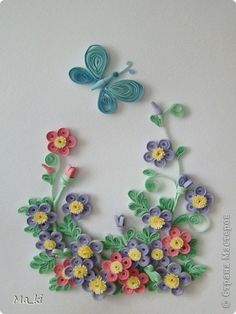 quilled flowers and butterfly. love the colors