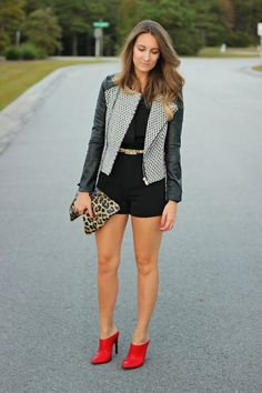 Moda & the Mar Fall Romper :: tweed & faux leather jacket :: red mules