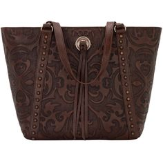 American West Fall 2016 Baroque Zip Top Bucket Tote ($248) ❤ liked on Polyvore featuring bags, handbags, tote bags, bucket tote, zip top tote bag, brown tote purse, western handbags and brown handbags
