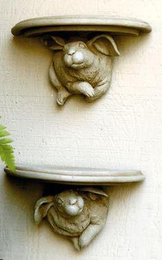 Bunny Bracket Pair of Rabbits Rabbit Sculpture, Art Sculpture, Rabbit Art, Bunny Rabbit, Vibeke Design, Deco Nature, Bunny Art, Easter Bunny, Garden Art