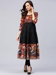 Buy AKS Women Black & Rust Printed Anarkali Kurta - Kurtas for Women Salwar Designs, New Kurti Designs, Kurta Designs Women, Frock Design, Designer Kurtis, Long Gown Dress, The Dress, Indian Designer Outfits, Designer Dresses