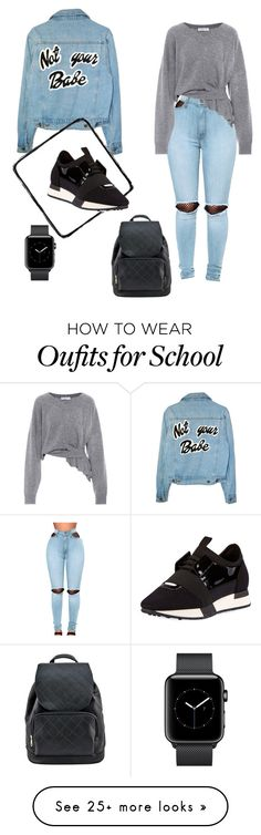 """School day"" by cherolxcreations on Polyvore featuring WithChic and Balenciaga"