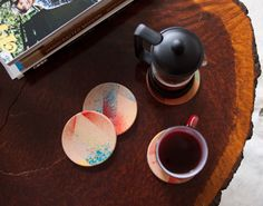 stained leather coasters.  Beautiful and very functional.