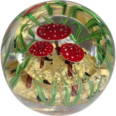 "STEVEN LUNDBERG Personally Signed ""Toadstool Trio"" Paperweight, Circa 1990 from barkusfarm on Ruby Lane"