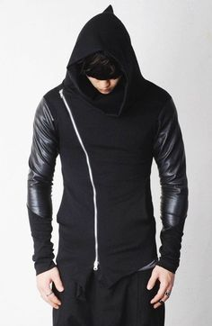 Asymmetric Zip Cowl Zip-up Hooded Leather Mix Jersey Jacket Denim Cargo Pants, Ninja Outfit, Leather Hoodie, Mens Gear, Blazers, Festival Outfits, Cowl, Zip Ups, Cool Outfits