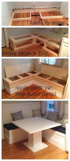 DIY Breakfast Nook with Storage Corner Bench Kitchen Table, Diy Bench With Storage, Bench Seat With Storage, Kitchen Bench Seating, Corner Dining Bench, Storage Benches, Diy Corner Sofa, Small Kitchen Tables, Booth Dining Table