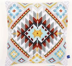 Southwestern Diamonds Quickpoint Pillow Top Kit - Cross Stitch, Needlepoint, Embroidery Kits – Tools and Supplies Cross Stitch Cushion, Cross Stitch Fabric, Cross Stitch Embroidery, Cross Stitch Patterns, Needlepoint Pillows, Needlepoint Kits, Minnie Baby, Cross Stitch Numbers, Tapestry Kits