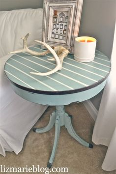 Pinstriped End Table