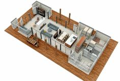 Possible layout for open plan apartment