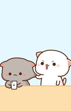 Cute Cartoon Pictures, Cute Couple Cartoon, Cute Love Cartoons, Cute Cat Wallpaper, Kawaii Wallpaper, Cute Wallpaper Backgrounds, Cute Bear Drawings, Cute Kawaii Drawings, Chibi Cat