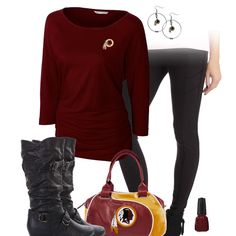 Get fashion chic and show some love for the Washington Redskins with some sleek leggings, a team dolman top and accessories, and some trendy buckle boots. Redskins Baby, Redskins Football, Football Girls, Redskins Gear, Football Gear, Legging Outfits, Washington Redskins, Sports Team Apparel, Sports Teams