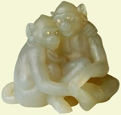 Pair of Faberge macaques, carved chalcedony set with rose diamonds
