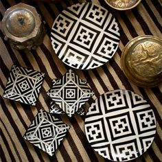 Hand Painted Black and White Plates