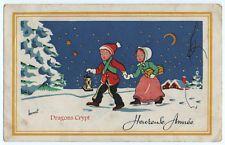 Carte postale ancienne - Illustrateur Bernet - Heureuse Année - Enfants, neige