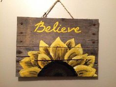 Wood Pallet Sign with sunflower by HippieHoundUSA on Etsy wood crafts crafts design crafts diy crafts furniture crafts ideas Wood Pallet Signs, Pallet Art, Wood Pallets, Wooden Signs, Pallet Ideas, Vintage Wood Signs, Pallet Benches, Barn Wood Signs, Pallet Tables