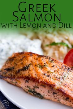 This delicious and easy Greek Salmon is the perfect quick healthy dinner for the whole family. The marinade is a simple mix of olive oil, lemon, dill, and oregano. The fish is pan-fried, giving it a wonderfully crisp exterior and meltingly tender and succulent center. Perfect for serving with orzo and a Greek salad. Transport your self to Greece with the traditional and authentic recipe for Greek Salmon! Delicious Salmon Recipes, Grilled Salmon Recipes, Tilapia Recipes, Grilled Fish, Delicious Food, Tasty, Seafood Recipes, Cooking Recipes, Bbq Recipes For Fish