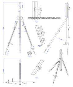 Folding Tripod Easel Plan Assembly 2d Drawing Easel Wooden Easel Art Easel