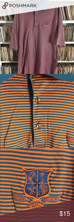 Ridell's Bay Golf & Country Club striped polo This vintage polo is from a now closed famous golf course in Bermuda. It's in good shape and made by cutter & buck signature collection. It has some light fading on the color but I think it still looks nice. Vintage Shirts Polos