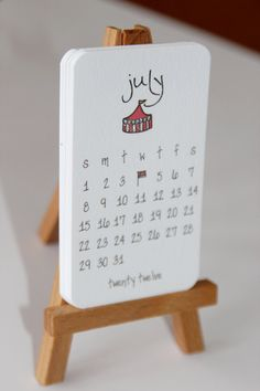 2012 Calendar Mini Doodle Desk Calendar With Wooden Easel