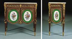 A LOUIS XVI ORMOLU AND SEVRES PORCELAIN-MOUNTED TULIPWOOD AND PARQUETRY SMALL COMMODE