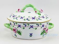 HEREND BEAUTIFUL BLUE GARLAND COVERED VEGETABLE TUREEN MINT RBG 43 F91
