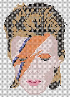 David Bowie Knit/crochet and cross stitch patterns of Aladdin Sane cover. Free PDF Downloads